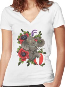 Circus Elephant Women's Fitted V-Neck T-Shirt