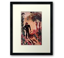 Man walkintg the woman in his life, watercolor Framed Print