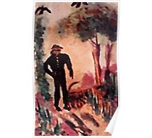 Man walkintg the woman in his life, watercolor Poster