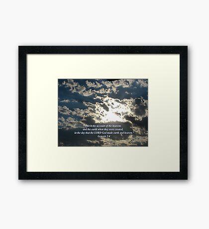 """""""Genesis 2:4""""  by Carter L. Shepard Framed Print"""