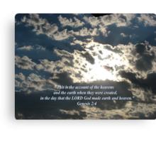 """Genesis 2:4""  by Carter L. Shepard Canvas Print"