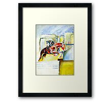 The equestrian- painting of horse and rider Framed Print