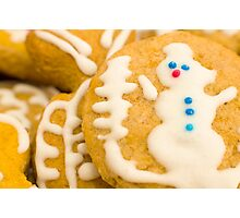 Christmas Cookie with Snowman Decoration Photographic Print