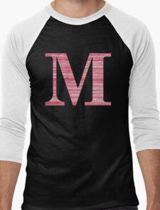 Letter M Red Watercolor Stripes Initial Monogram Men's Baseball ¾ T-Shirt