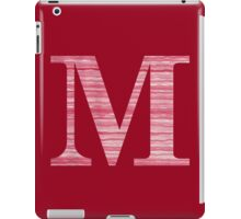 Letter M Red Watercolor Stripes Initial Monogram iPad Case/Skin