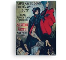 A man may be down but hes never out! Home Service Fund Campaign Salvation Army May 19 26 1919 Canvas Print