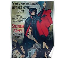 A man may be down but hes never out! Home Service Fund Campaign Salvation Army May 19 26 1919 Poster