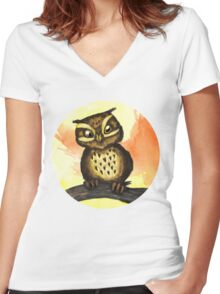 Cute owl. Women's Fitted V-Neck T-Shirt