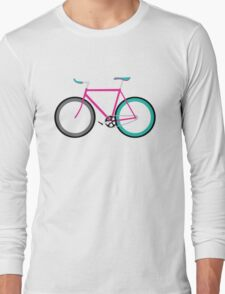 Simple Bike ~ Fixie Magenta Teal Long Sleeve T-Shirt