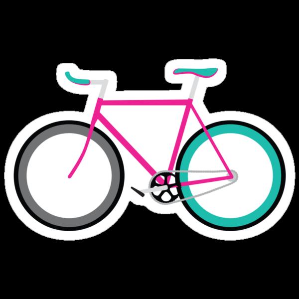 Fixie Bike Stickers Simple bike   fixie magenta