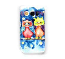 Two owls and a starry night Samsung Galaxy Case/Skin