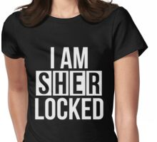 Sherlocked - white text Womens Fitted T-Shirt