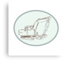 Mechanical Digger Excavator Oval Etching Canvas Print