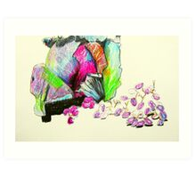 red cabbage and grapes Art Print