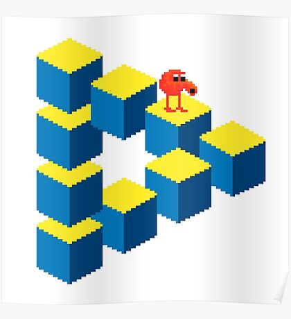 Q*bert - pixel art Poster
