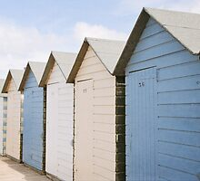Beach hut blues ~ Summerleaze Beach, Cornwall, UK by Zoë Power