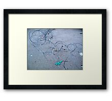 Concertina wire along the ground barring entry to a location Framed Print