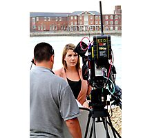 BBC news reporter on location Photographic Print