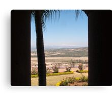 Tree Blocking view of garden, valley and ice-capped mountains Canvas Print