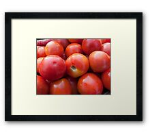 A pile of luscious bright red tomatoes Framed Print