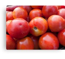 A pile of luscious bright red tomatoes Canvas Print