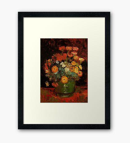Vase with Zinnias Vincent van Gogh Framed Print
