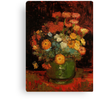 Vase with Zinnias Vincent van Gogh Canvas Print