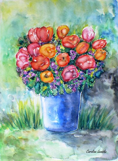 Tulips in a Vase by Caroline  Lembke