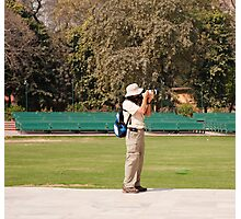 A tourist using a high powered camera inside the Red Court in New Delhi, India Photographic Print