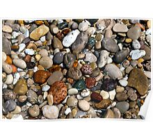 Wet, Colorful Beach Pebbles Poster