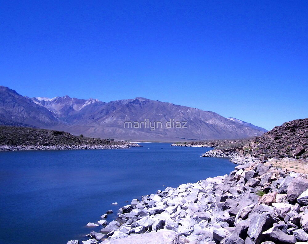 Blue Above And Below At Crowley Lake by marilyn diaz