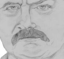 Ron Swanson Pencil Portrait Sticker