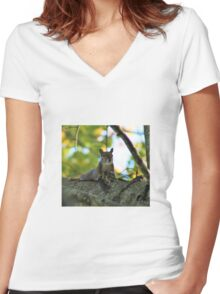 Flirty squirrel  Women's Fitted V-Neck T-Shirt
