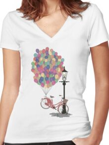Love to Ride my Bike with Balloons even if it's not practical. Women's Fitted V-Neck T-Shirt