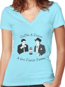 Twin Peaks - Sheriff Harry and Agent Cooper Women's Fitted V-Neck T-Shirt