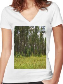 Field of SUNFLOWERS! Women's Fitted V-Neck T-Shirt