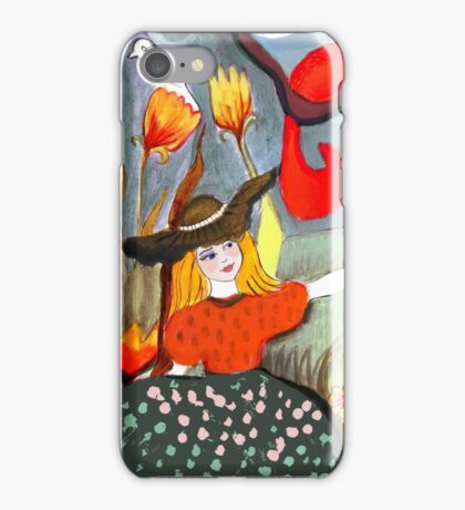 Girl with squirrels iPhone Case/Skin