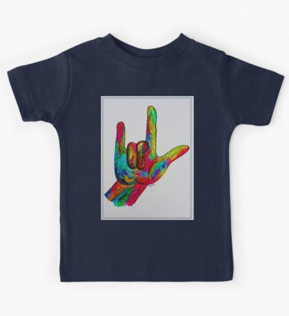 "American Sign Language ""I LOVE YOU"" with a Border Kids Tee"