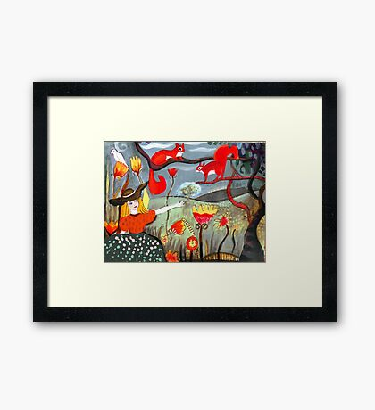 Girl with squirrels Framed Print
