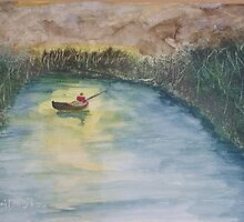Night fishing in a small boat. by Easel
