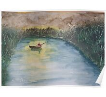 Night fishing in a small boat. Poster