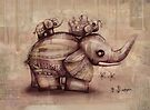 vintage upside down elephants by Karin  Taylor
