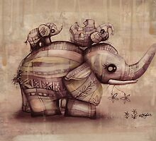 vintage upside down elephants by © Karin (Cassidy) Taylor