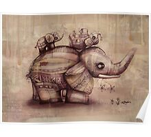 vintage upside down elephants Poster