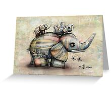 Upside Down Elephants Greeting Card