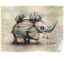 Upside Down Elephants Poster
