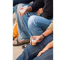 Group of teenagers sitting and drinking tea Photographic Print