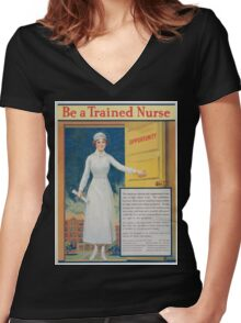Be a trained nurse Women's Fitted V-Neck T-Shirt
