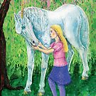 Mythical unicorn with young girl by didielicious