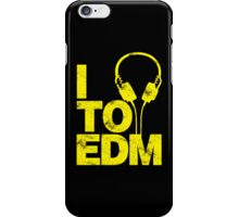 I Listen to EDM (yellow) iPhone Case/Skin